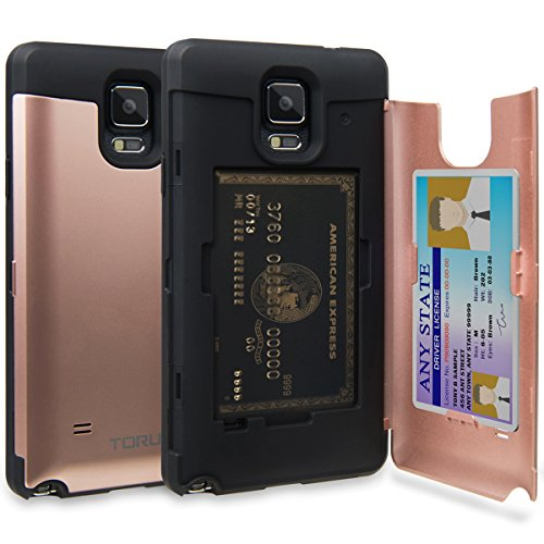 allet Case Pink with Hidden ID Slot Credit Card Holder Hard Cover & Mirror for Samsung Galaxy Note 4 - Rose Gold ()