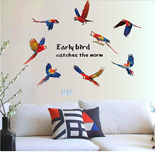 hfwh Pegatinas de Pared, Early Bird Bano Pared Pegatinas para Ninos Habitacion Cartel Vinilo Casa Decoracion Adesivo De Parede Art Calcomanias 3D DIY Wallpaper Decor 85x117cm