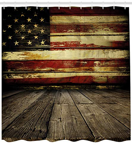 Ambesonne United States Shower Curtain, Vintage American Flag on Wooden Planks Wall Background Grunge Print, Fabric Bathroom Decor Set with Hooks, 70 inches, Umber Cream Red -