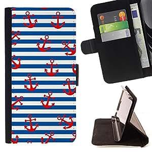 """For Samsung Galaxy S6 Active G890A,S-type Blanco Rojo Líneas marinero Ancla"""" - Dibujo PU billetera de cuero Funda Case Caso de la piel de la bolsa protectora"""