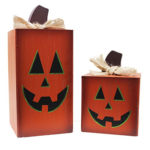 Halloween Pumpkin Face Wood Blocks, Set of 2