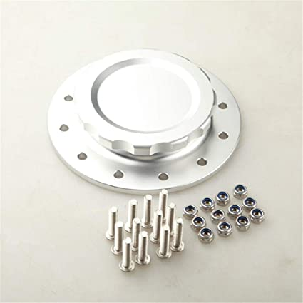 Billet Aluminum Easy Fill Fuel Cell Gas Cap With 12 Hole Cell Bung Silver