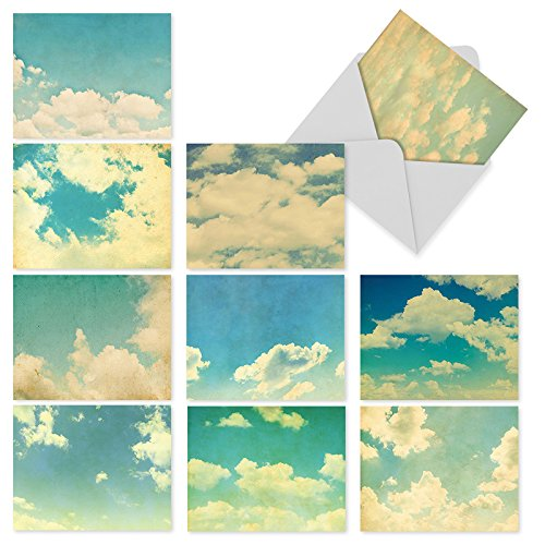 10 All-Occasion Note Cards w/Envelopes, Assorted Cloud 9 Blank Greeting Cards, Stationery Set for Weddings, Baby Showers, Birthdays, Sympathy, Thank You (4 x 5.12 Inch) M2036