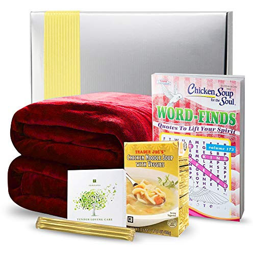 Get Well Gifts Basket Box - Includes Luxury Blanket Organic Tea Soup and Book | Get Well Gift Baskets for Women Men Teens Friends | Get Well Care Package Presented ()