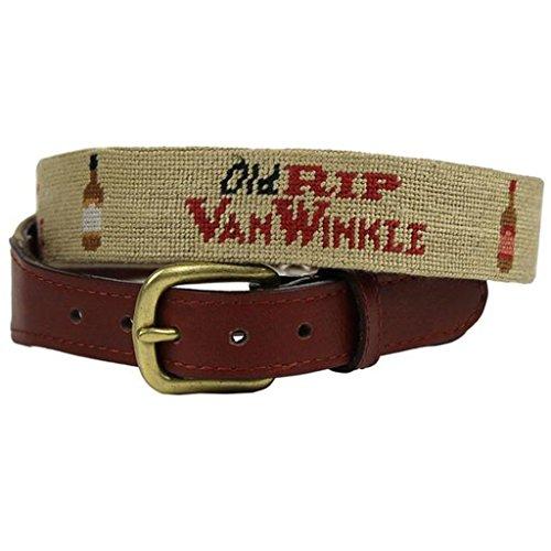 Old Rip Van Winkle (Pappy Van Winkle) Needlepoint Belt in Khaki by Smathers & Branson - Pappy Van