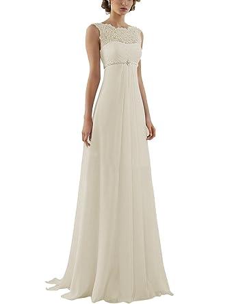 Aurora Bridal 2016 Lace Chiffon Beach Wedding Dresses For Pregnant Women Ivory 2