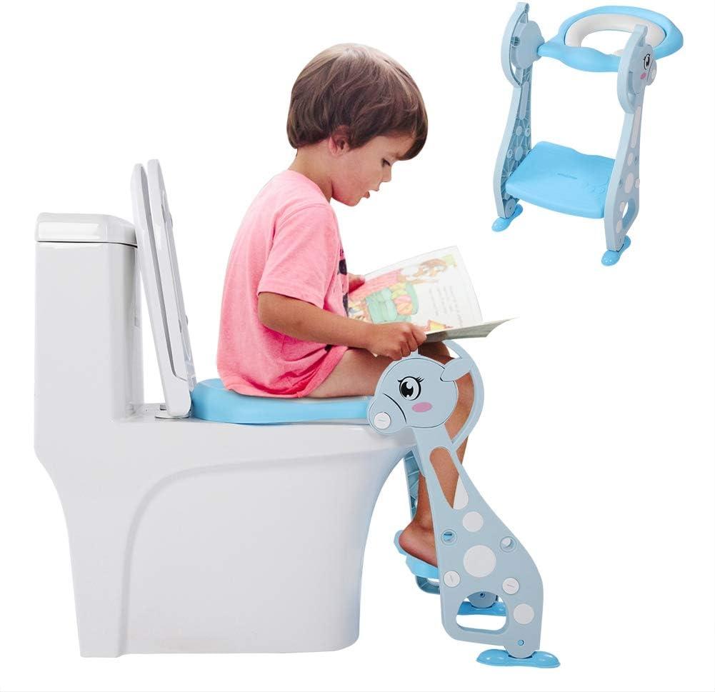 Cute Deer Armrest Ladder Potty Chair Baby Boy Kids Toddler Training Soft Toilet Seat for Kids and Toddler Boys Girls Blue EBTOOLS Step Ladder Toilet Chair