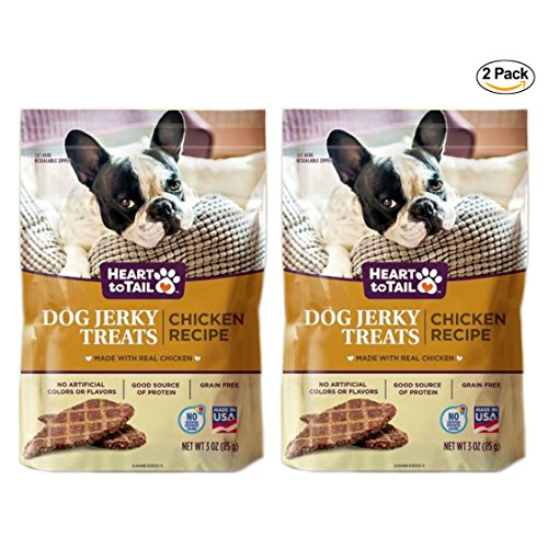 Heart to Tail Dog Jerky Treats Grain Free Real Chicken Recipe: 2 Pck - 3 oz. (85g)
