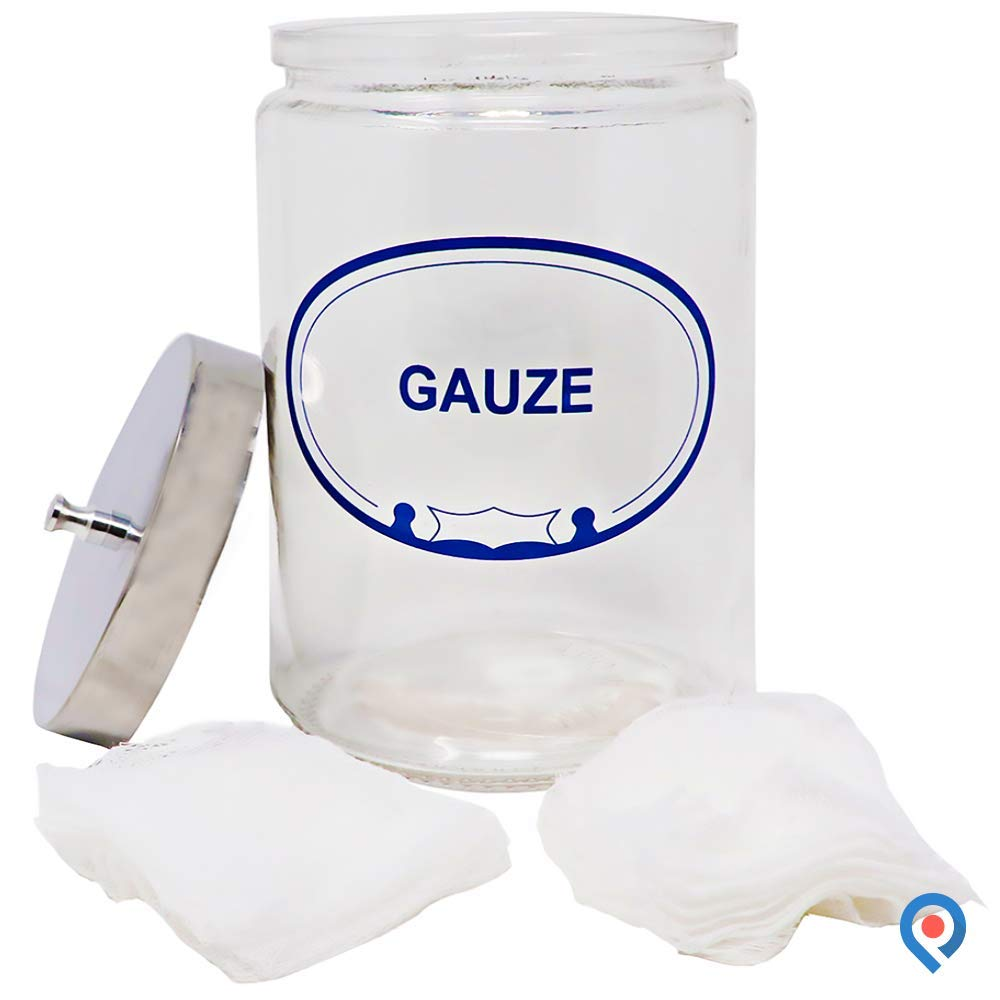 pivit Glass Apothecary Sundry Jar Lid | Gauze Labeled | 7'' H x 4.25'' D | Clear Glass Lets You Easily See The Contents | Includes an Polished Aluminum Lid Cover | Store Medical Items Toiletries