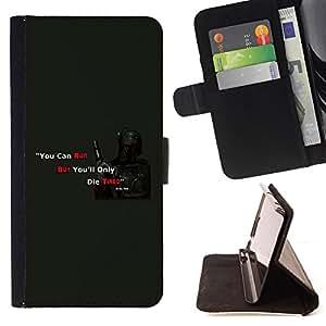 - You Can run Hunter - - Prima caja de la PU billetera de cuero con ranuras para tarjetas, efectivo desmontable correa para l Funny HouseFOR HTC Desire 820