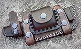 Ottoza Custom Handmade Dark Brown KNIFE SHEATH LEFT HAND HORIZONTAL SCOUT TRACKER - BUSHCRAFT - SKINNER Cow/Buffalo Leather No