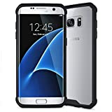Arc Samsung Galaxy S7 Edge Full Body Hybrid Transparent TPU PC Bumper Case Cover Black