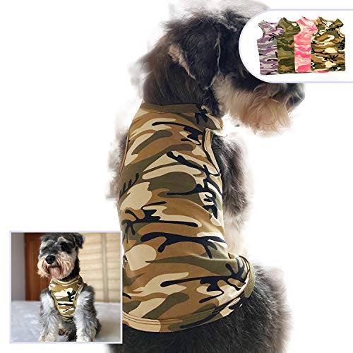 - lovelonglong Fashion Pet Dog T-Shirt, Soft and Comfy Cotton Puppy Dog Tanks Top Camouflage Summer Tee Shirts for Large Medium Small Dogs (XXXXL, Beige)