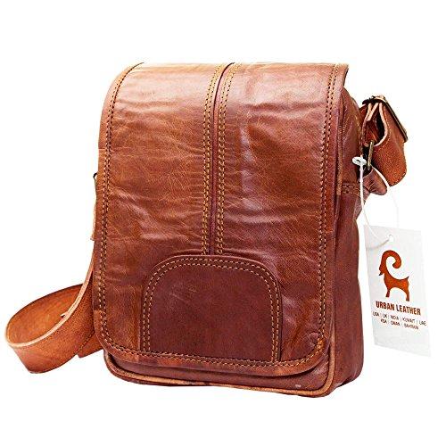 Vertical Italian - Urban Leather Vertical Messenger Sling Satchel Brown Bag Purse for Men Women Boys Girls Outing Travel Passport Handbag with Natural Textures, Size 9 Inch