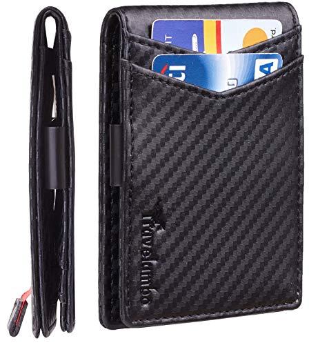 Travelambo Mens RFID Blocking Front Pocket Minimalist Slim Genuine Leather Wallet Pull Tab Money Clip (01 Carbon Fiber Black)