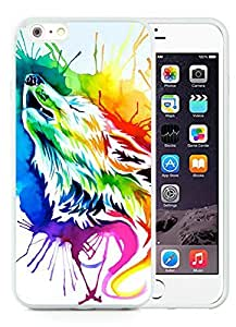 iPhone 6 Plus TPU Case,Rainbow wolf Rubber Case for iPhone 6 Plus (5.5) White Cover