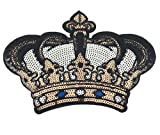 YAKA 2 Pcs DIY Crown Applique Patches Sew on/Iron on Sequins Embroidery Patches for Shirt Dress Hat Vest Jeans Backpacks Clothes, Decoration Sequined Applique Patch9.8inch (Crown)