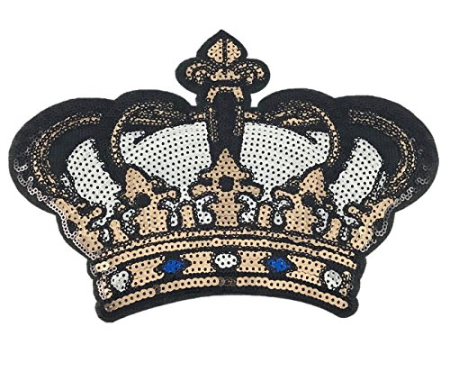(YAKA 2 Pcs DIY Crown Applique Patches Sew on/Iron on Sequins Embroidery Patches for Shirt Dress Hat Vest Jeans Backpacks Clothes, Decoration Sequined Applique Patch9.8inch (Crown))