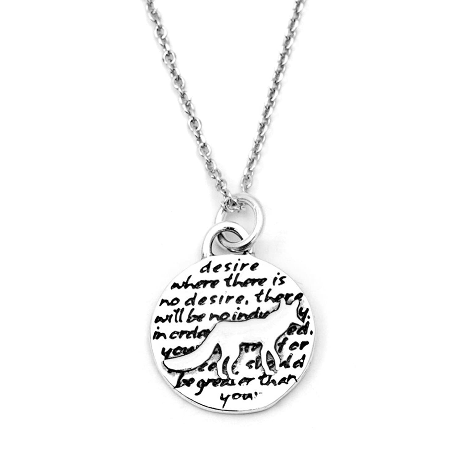 Kevin N Anna Fox (Desire quote) Sterling Silver Small Pendant Necklace