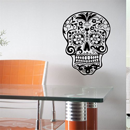 [BIBITIME Halloween Skull Wall Art Decor Decals Skeleton Stickers for Rooms Removable Vinyl Art Graphic Bedroom Decal Sticker Wallpaper (DIY, 20.08