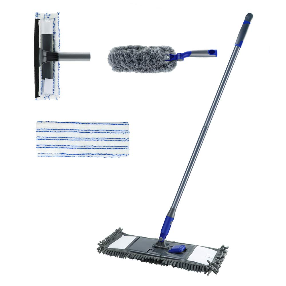 Masthome 3PCS Microfiber Mop,High Reach Duster,Glass Squeegee Cleaning Set with Branch Pole,1 Extra Mop Refills for Cleaning Floor,Glass,Window,Car