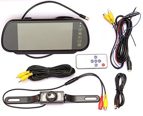 LotFancy 7 Inch 16:9 TFT Color LCD Widescreen Car Rear View Monitor Bundle with Remote and Waterproof Camera