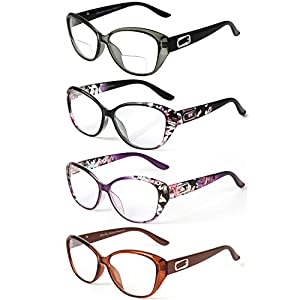 LianSan 4 Pairs Quality Cat Eye Frame Men Women Reading Glasses include Bifocal Readers L3707(+3.25)