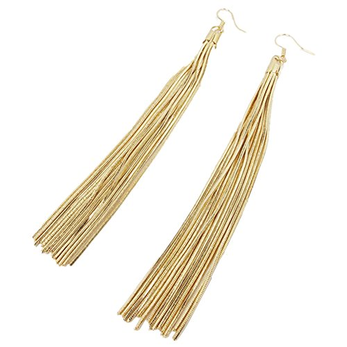 YI-shine Long Tassel Chain Drop Dangle Earrings for Women Gold Silver Fashion Trendy Jewelry for Women - Chain Drop Tassel