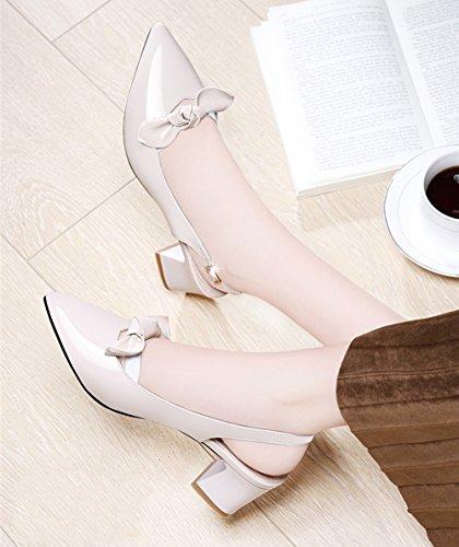 Zapatos Caminar tamaño de Tacón Puntiaguda Beige de Verano Color diarioOutdoor Grueso 40 Puntera para Señoras Beige Confortables Sandalias PU Zapatos Casual Mujer Nombramiento q0zwxvRRX