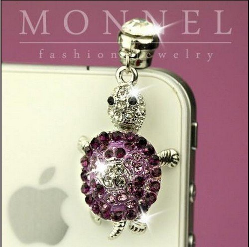 New Cell Phone Charm - IP202-B New Cute Purple Crystal 3D Turtle Anti Dust 3.5mm Plug Cover For iPhone & Android