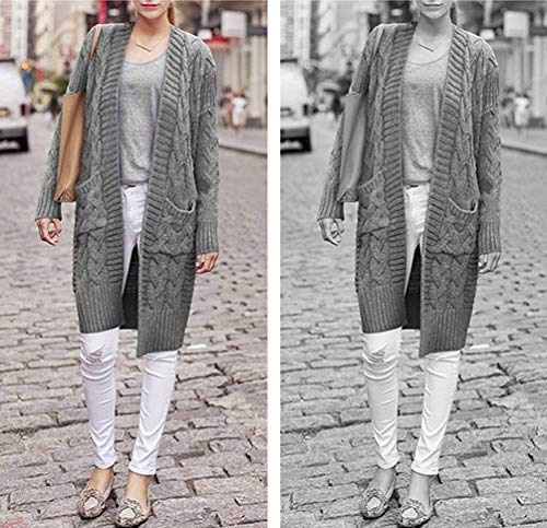 Manga Bolsillos Sweater Larga Cuello Sólido Adelina Tejido Color Jerseys Streetwear Mujer Casual Delanteros Chaqueta Caliente Anchos Grau Swag Basicas Largos Stand Otoño Abrigo qwPq8ngv