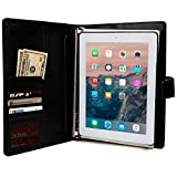 iPad 2/3/4 Case with Notepad, COOPER FOLDERTAB Business Travel Luxury PU Leather Carrying Portfolio Protective Case Cover with Paper Notebook & Card Pocket for Apple iPad 2/3/4 (Black)
