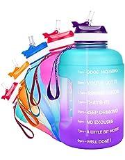 QuiFit Drinkfles van 2,2 liter, met opdruk: drinkstimulatie en flipstro, grote drinkfles, fitness, gym, onderweg joggen, lekvrij, waterfles, sportfles, BPA-vrij, groen en paars, 2,2 l