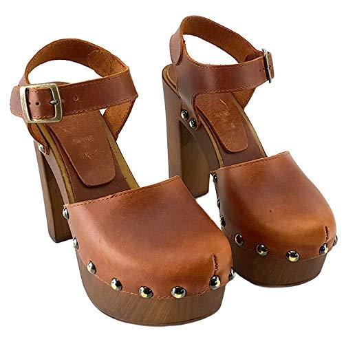 nero Made Italy My Cuoio Marrone Marrore Alti Zoccoli Shoes 462 Svedesi Kiara In wqY1AO
