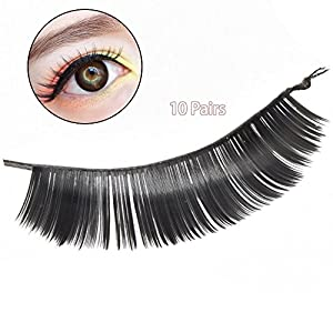 Popfeel 10 Pairs Thick Black Reusable Elongated Cross False Eyelashes for Eyes Beauty Makeup ,Hand Craft Thick (#4)