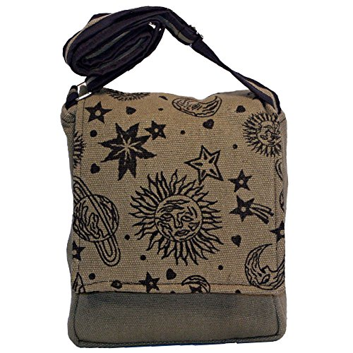 Green Crossbody Bag Stars Shoulder Celestial Moon Sun Planets and Hippie xazW7