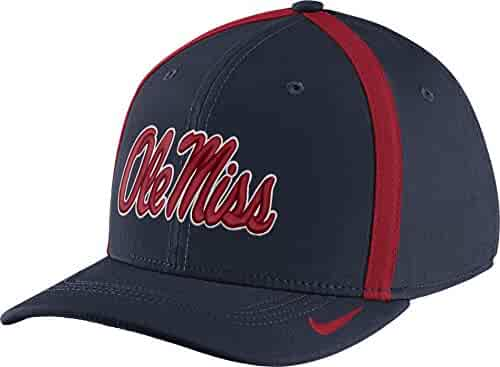 29d23376f5b11 NIKE Men s Ole Miss Rebels Blue Aerobill Swoosh Flex Classic99 Football  Sideline Hat