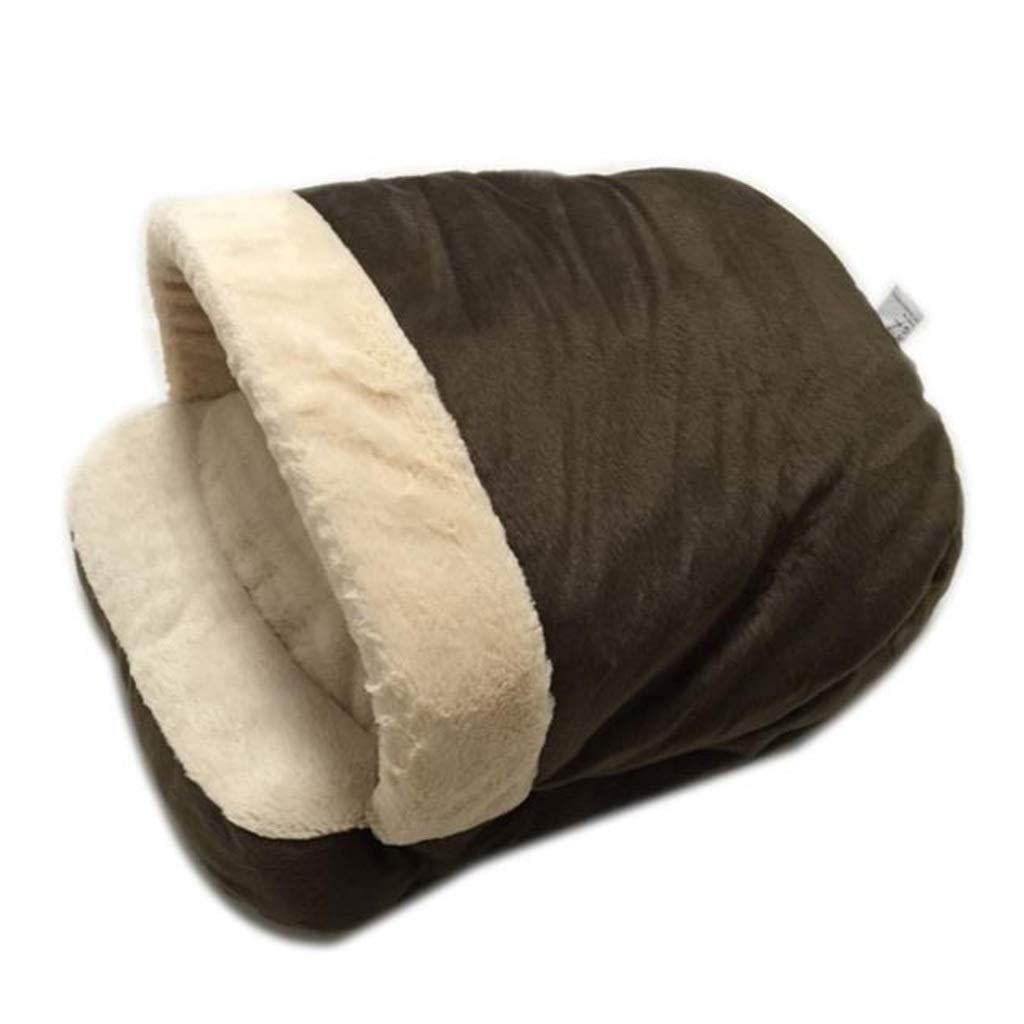 BROWN Cat Sleeping Bag Pet Nest Soft and Comfortable (color   Brown)