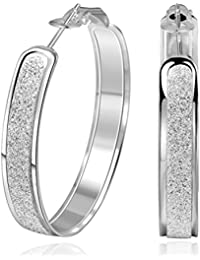 Sterling Silver Glitter-Patterned Hoop Earring Jewelry for Women