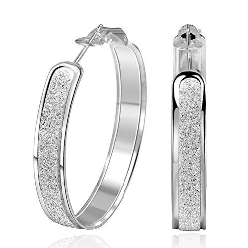 SUNGULF Sterling Silver Glitter-Patterned Hoop Earring Jewelry for Women