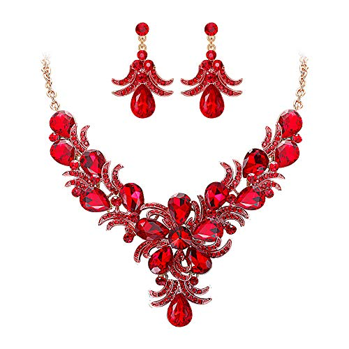 EVER FAITH Crystal Bib Collar Statement Gorgeous Drop Blooming Flower Necklace Earrings Set Red Gold-Tone Blooming Flower Drop Earrings