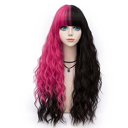 Probeauty Punkview Collection 75cm Mix Color Gothic Long Curly Pastel Ombre Hair Synthetic Cosplay Wig+Cap (Rose Red Mix Black)