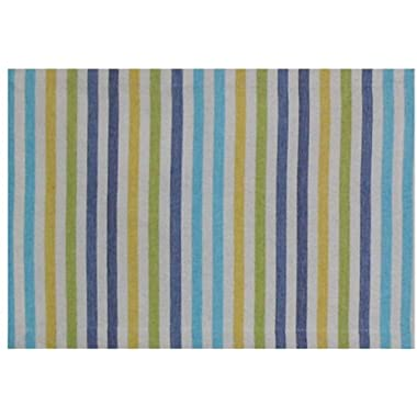 100% Cotton Yellow & Blue Striped 13 x19  Placemat, Set of 6 - Capri