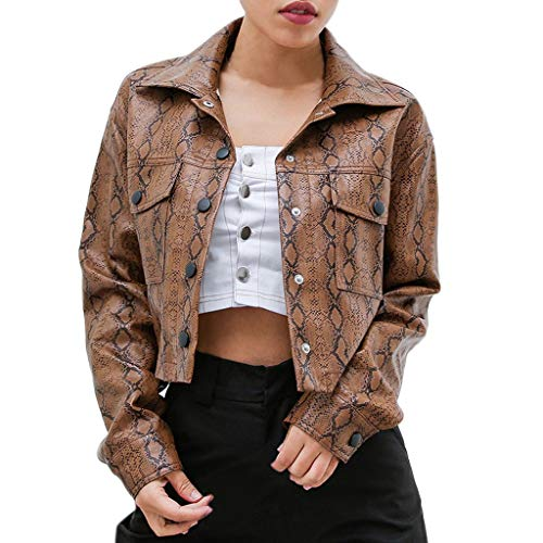 HULKAY Women Leather Jackets Sexy Snake Print Long Sleeve Short Coat Pullover(Brown,S) ()