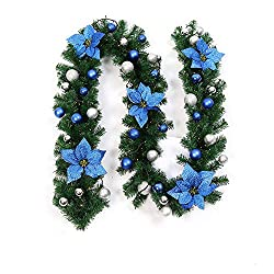 Christmas Garland with Lights Battery Operated Xmas Garland Artificial Flower Vine Plants Christmas Outdoor Indoor Home Party Fireplace Décor (Green)