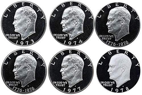 1973 S 1974 S 1976 S Type 1 1976 S Type 2 1977 S 1978 S Clad Eisenhower Ike Dollars Gem Proof Run 6 Coins US Mint Lot Gem Proof