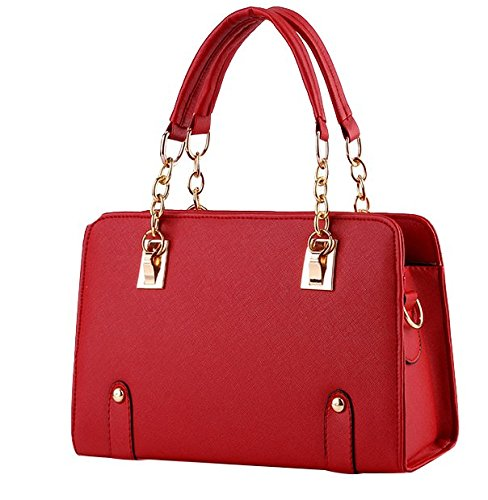 Handbag New Shoulder Bag (ILISHOP Women's New Fashion Shoulder Bags Top-handle Bags For Ladies Casual Cross-body Bags For Teens Hot Sale (Red))