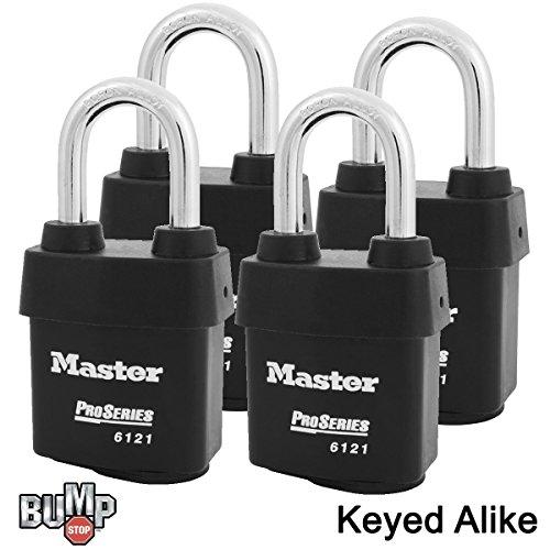 - Master Lock - Four (4) High Security Pro Series Padlocks 6121NKALF-4 w/BumpStop Technology