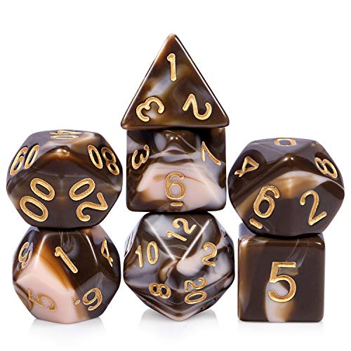 Chocolate Color Game Dice Set, 7 Dies Polyhedral DND Dice with Free Pounch for RPG Dungeons and Dragons Table Games Roll Playing Game Dice Collector