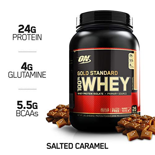 OPTIMUM NUTRITION GOLD STANDARD 100% Whey Protein Powder, Salted Caramel, 1.8 Pounds (Caramel Protein Shake)